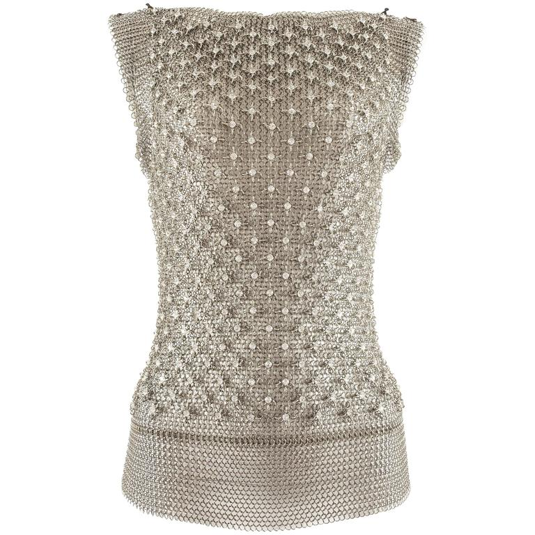 Paco Rabanne silver metal chainmail vest studded with Swarovski crystals For Sale