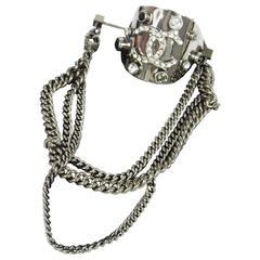 Chanel Silver Gunmetal Rhinestone Pin Chain Charm Evening Brooch in Box