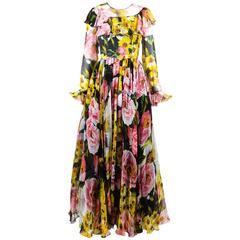 Dolce & Gabbana New w Tags Pink Black & Yellow Silk Floral Print LS Gown SZ 42