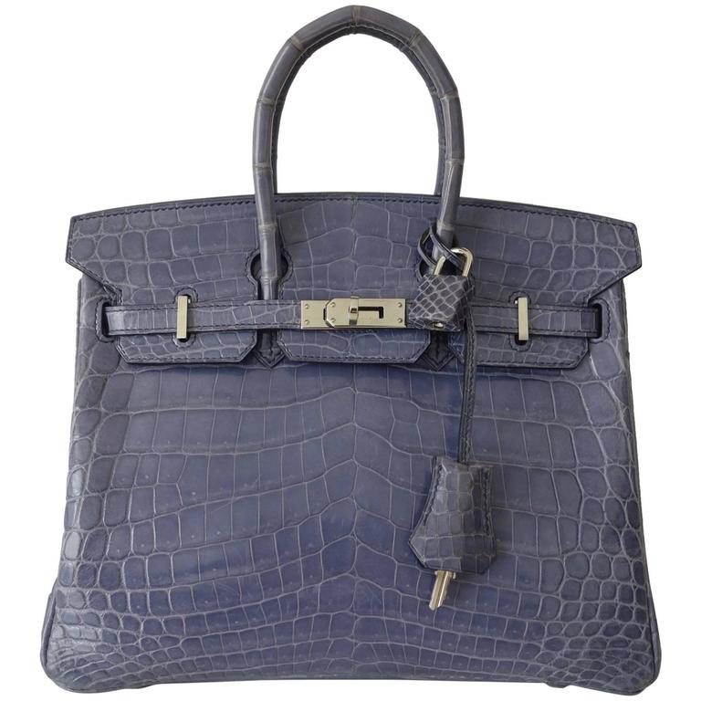 RARE Hermes Birkin 25 Handbag Bleu Brighton Crocodile Nilo Palladium Hdw For Sale
