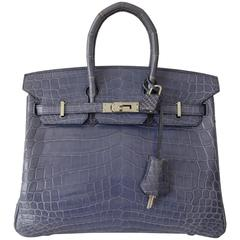 RARE Hermes Birkin 25 Handbag Bleu Brighton Crocodile Nilo Palladium Hdw