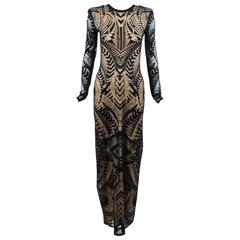 Balmain New with Tags Black & Beige Knit LS Tattoo Effect Maxi Gown SZ 40
