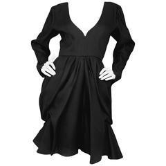 Yves Saint Laurent Black Silk Organza Dress sz FR40