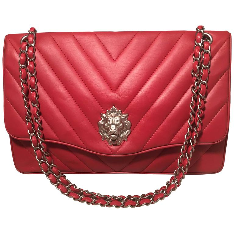Chanel Red Chevron Quilted Lions Head Classic Flap Shoulder Bag