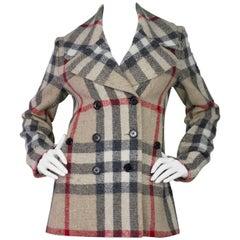 Burberry Brit Nova Plaid Double Breasted Wool Coat sz US8