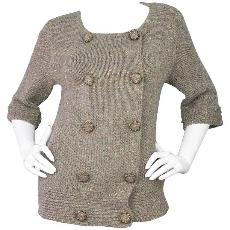 Louis Vuitton Metallic Taupe Wool Double Breasted Sweater sz M 1