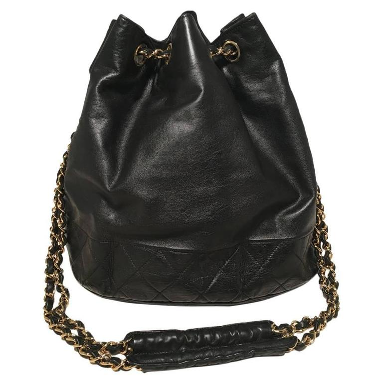 Chanel Vintage Black Leather Drawstring Bucket Shoulder Bag 1