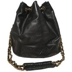Chanel Vintage Black Leather Drawstring Bucket Shoulder Bag