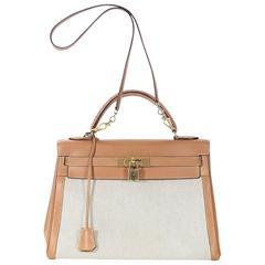 Tan Hermès Leather & Canvas Kelly Bag