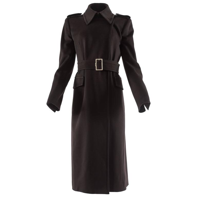 Yves Saint Laurent by Tom Ford autumn-winter 2001 brown wool military coat For Sale