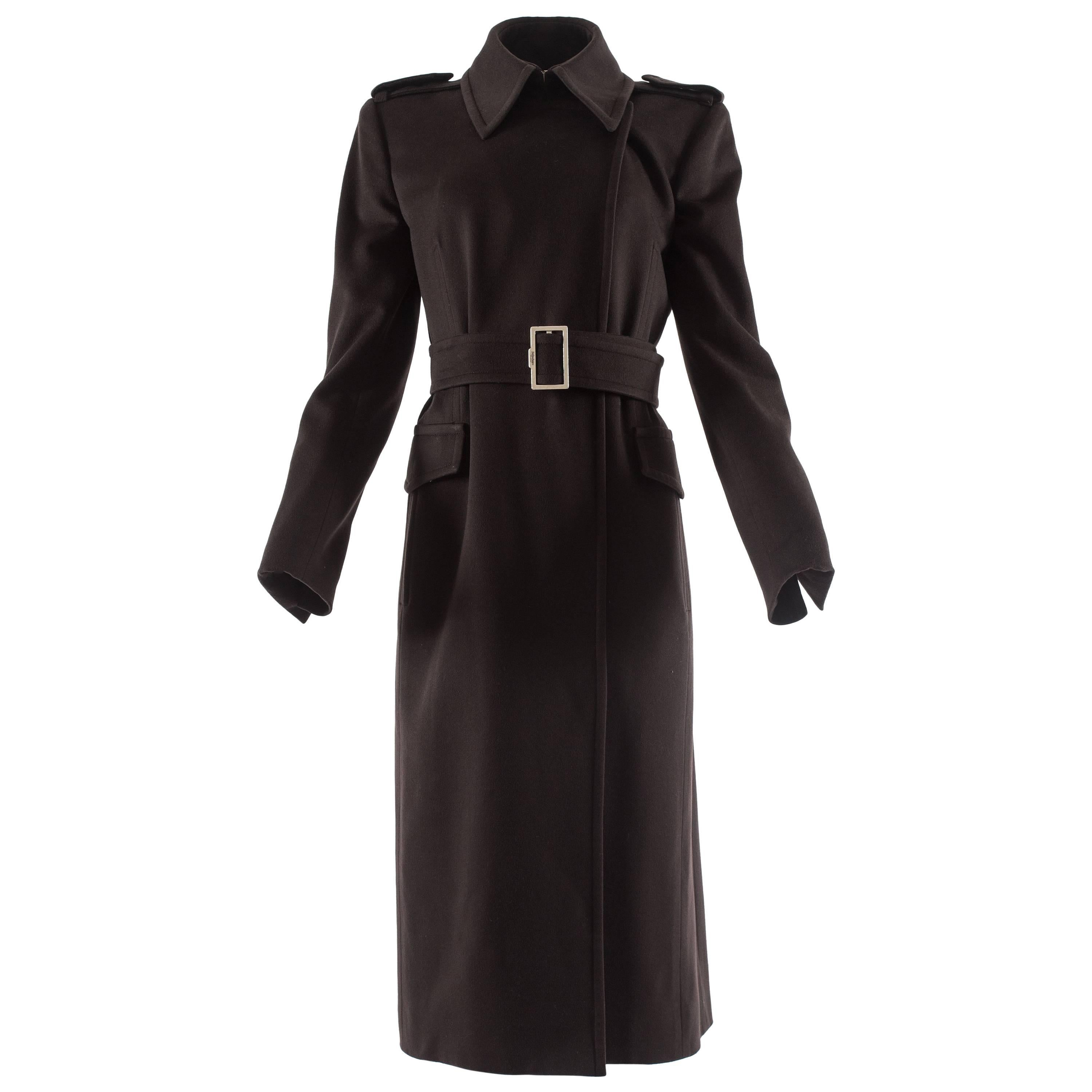 09c00fd7826 RARE TOM FORD for GUCCI F W 2004 FOX GOAT LEATHER BLACK COAT For Sale at  1stdibs