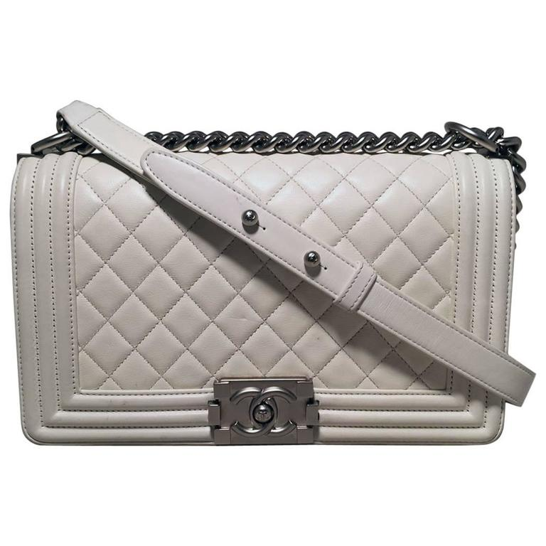 Chanel White Quilted Le Boy Classic Flap Shoulder Bag For