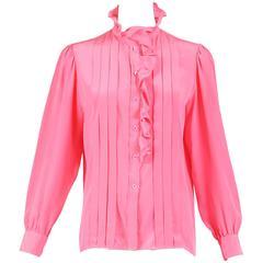 1970s Yves Saint Laurent YSL Pink Silk Pleated Long Sleeved Blouse W/Ruffle Trim