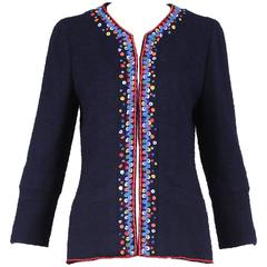 1997 Chanel Navy Blue Wool Boucle Cardigan Jacket W/ Multi-Colored Stitched Trim