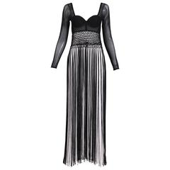 Christian Dior Black & White Illusion Top Gown W/Long Fringe Detail Ca. 1989/96