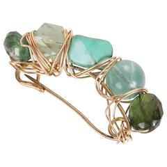 Kazuko 14k Gold Wire Wrapped Safety Pin Brooch w/Semi-Precious Stone Beads