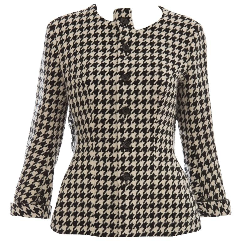 Yohji Yamamoto Wool Houndstooth Jacket With Leather Trim, Autumn / Winter 2003 For Sale