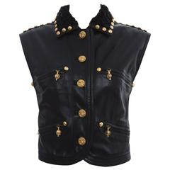 Gianni Versace Black Studded Leather Vest With Persian Lamb Collar, Circa 1990's