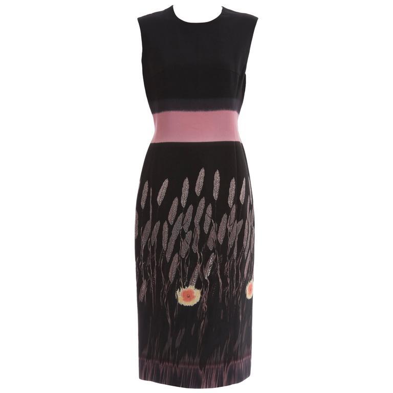 Prada Silk Cotton Printed Sleeveless Sheath Dress, Spring - Summer 1998 For Sale
