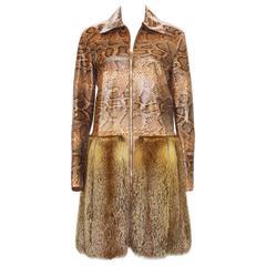 New ROBERTO CAVALLI Python Fur Fox Coat Jacket
