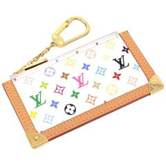 Louis Vuitton Pochette Cles White Multicolor Monogram Coin Key Case