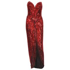 Bob Mackie Red Fully Beaded Dress Gown, 1982