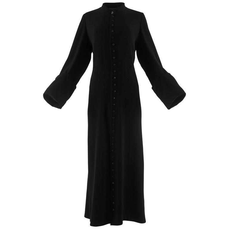 Margiela Autumn-Winter 1992 black cotton full length priest coat 1