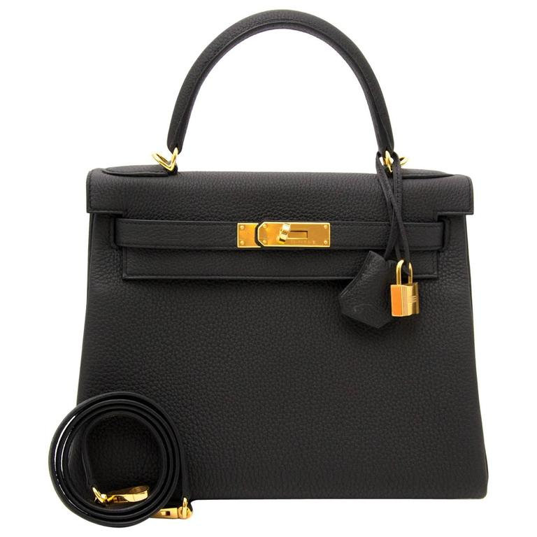 b0a8ee4febf Brand New Hermes Kelly 28 Black Togo GHW at 1stdibs