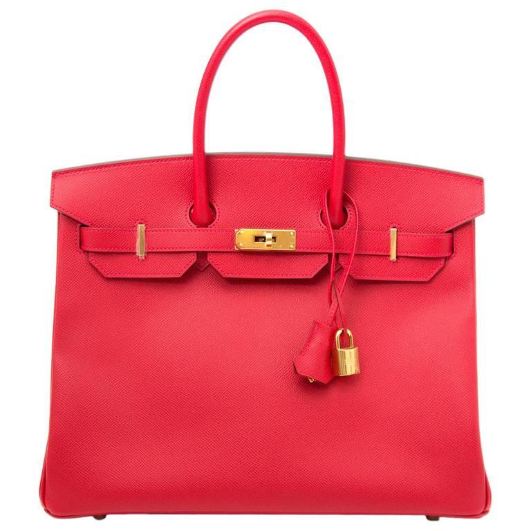 Brand New Hermes Birkin 35 Rouge Casaque Epsom GHW For Sale