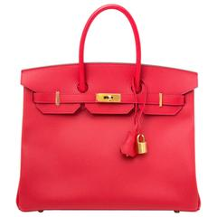 Brand New Hermes Birkin 35 Rouge Casaque Epsom GHW
