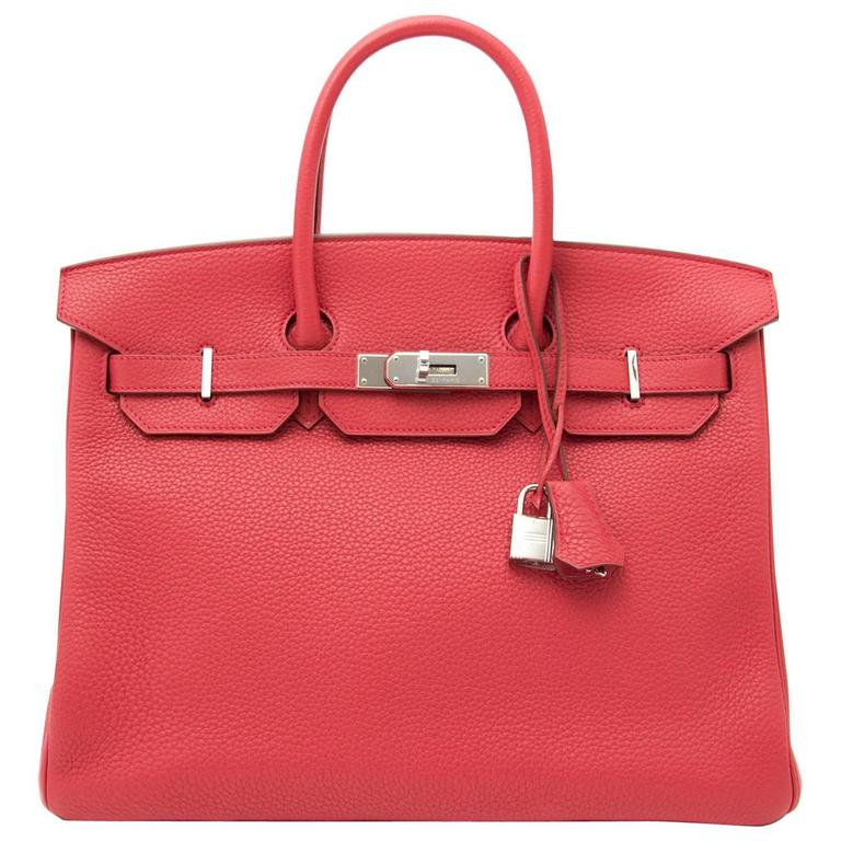 Brand New Hermes Birkin 35 Clemence Taurillon Bougainvillea For Sale