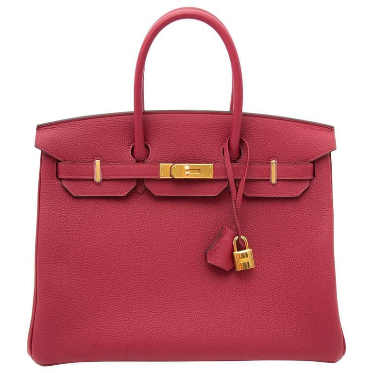 Brand New Hermes Birkin Rouge Grenat 35 Togo  For Sale