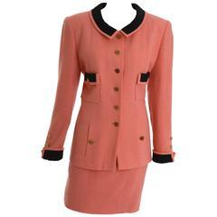 1990s CHANEL Coral Pink Boucle Suit Dress