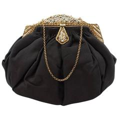 1930s French  Black Silk Grosgrain & Enamel and Beads Jeweled Frame Evening Bag