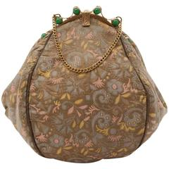 1930s Silk Brocade & Green Jade Colour Glass Beads Jeweled Frame Evening Bag
