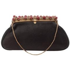 1930s Black Antelope Suede with  Deep Red Glass Bead Encrusted Brass Frame Bag