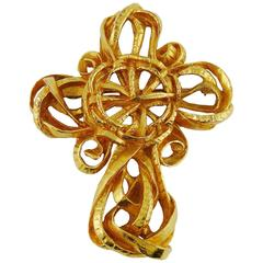 Christian Lacroix Vintage Gold Toned Cross Brooch and Pendant