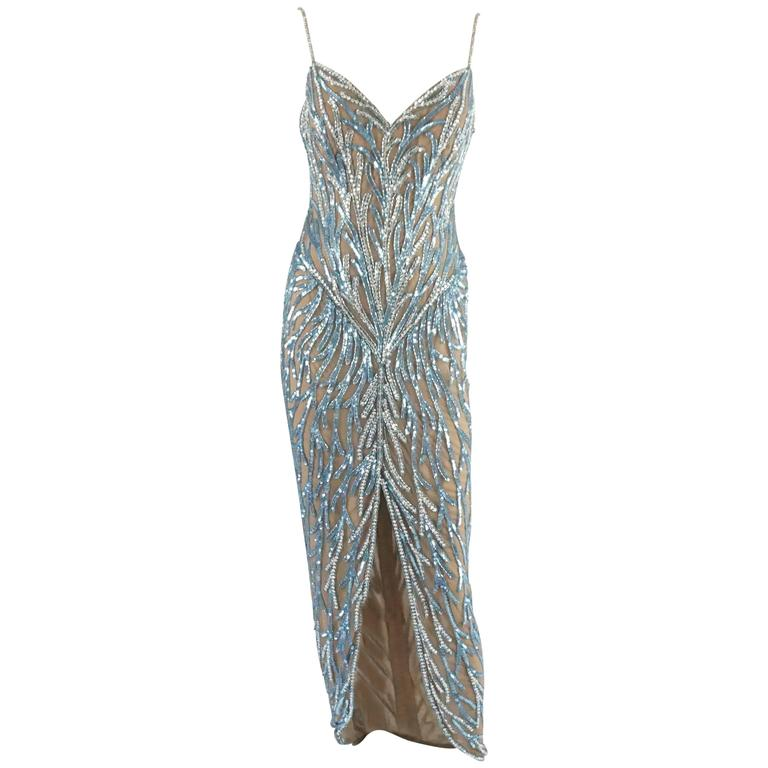 Bob Mackie Nude Mesh Blue Beaded Gown - 8 - circa 1980's For Sale