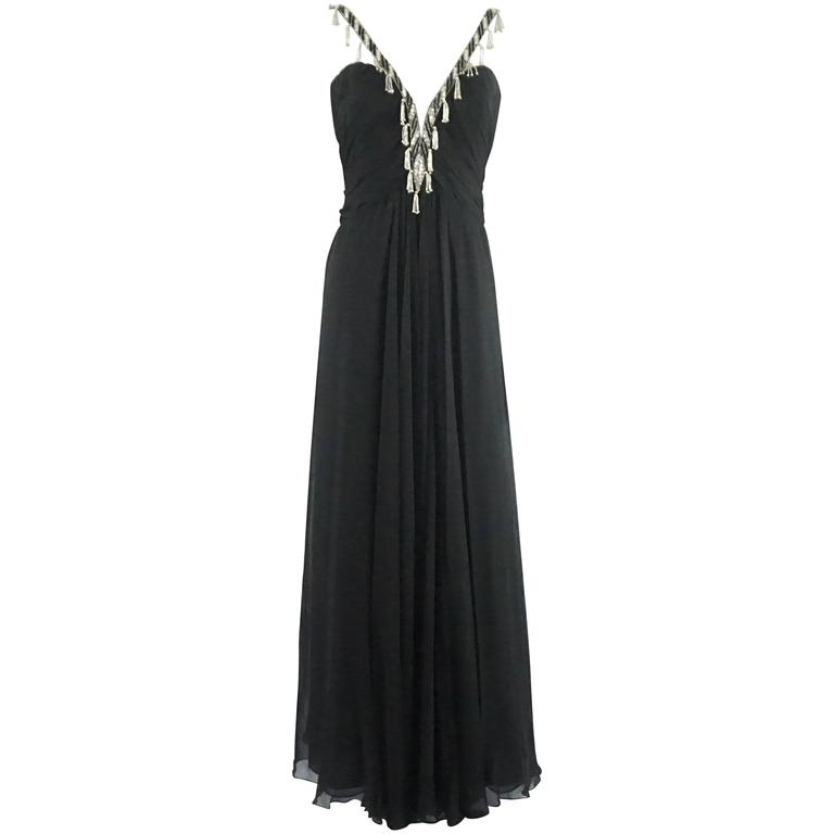 Bob Mackie Black Silk Chiffon Halter Gown with Beading and Shawl -8- Circa 1980s 1