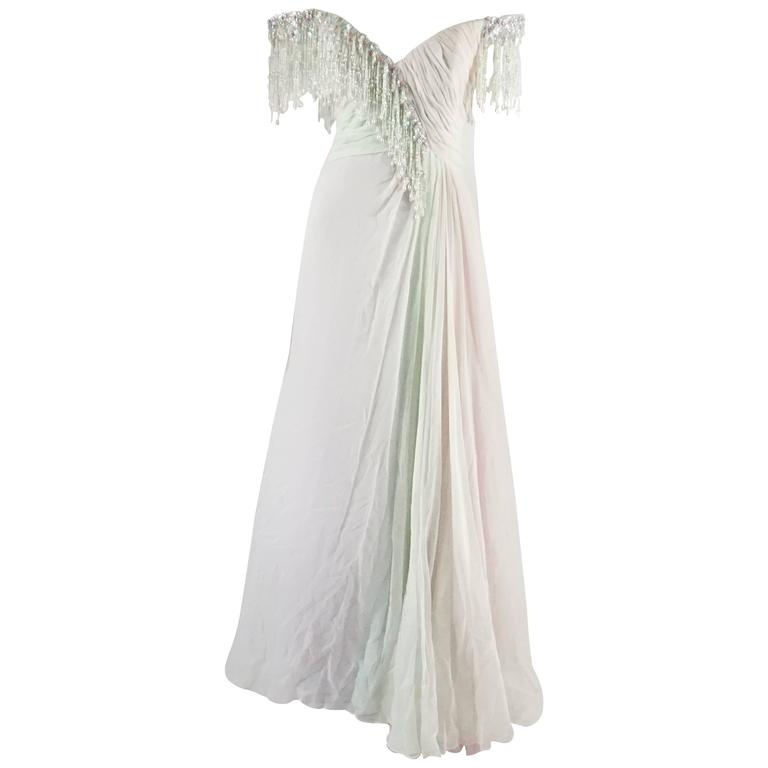 Bob Mackie Pastels Silk Chiffon Gown with Hanging Beads - 6 - circa 1980's