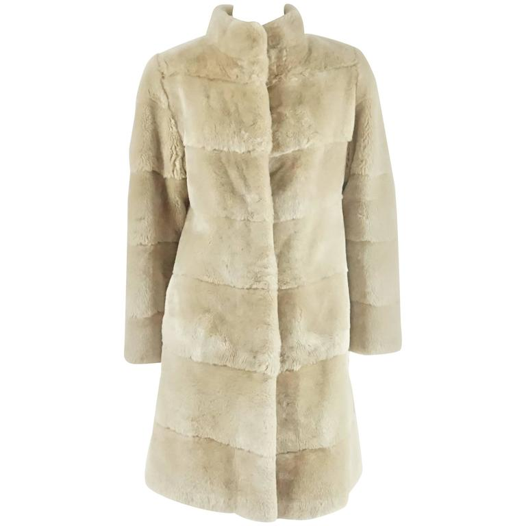 "Olivia Preckel Sheared Beaver ""Noa"" Cream Coat - M/L  For Sale"
