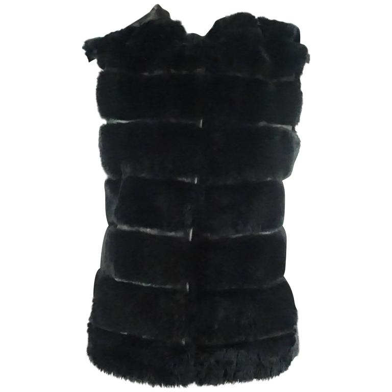 Olivia Preckel Black Sheared Beaver and Leather Vest with Hood - S/M