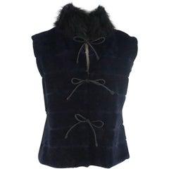Dennis Basso Navy Sheared Beaver Vest with Black Fox Collar - S