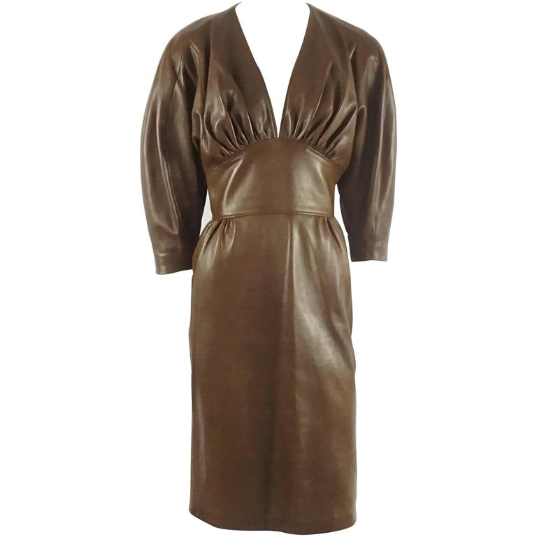 Jean Claude Jitrois Brown Leather Long Sleeve Dress - 6 -  circa 1980's  1
