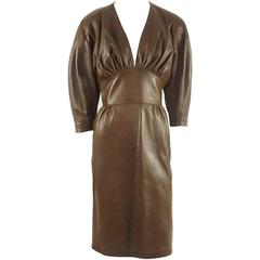 Jean Claude Jitrois Brown Leather Long Sleeve Dress - 6 -  circa 1980's