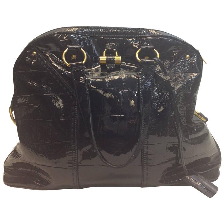 397e8a02af Yves Saint Laurent Black Patent Muse Bag For Sale at 1stdibs