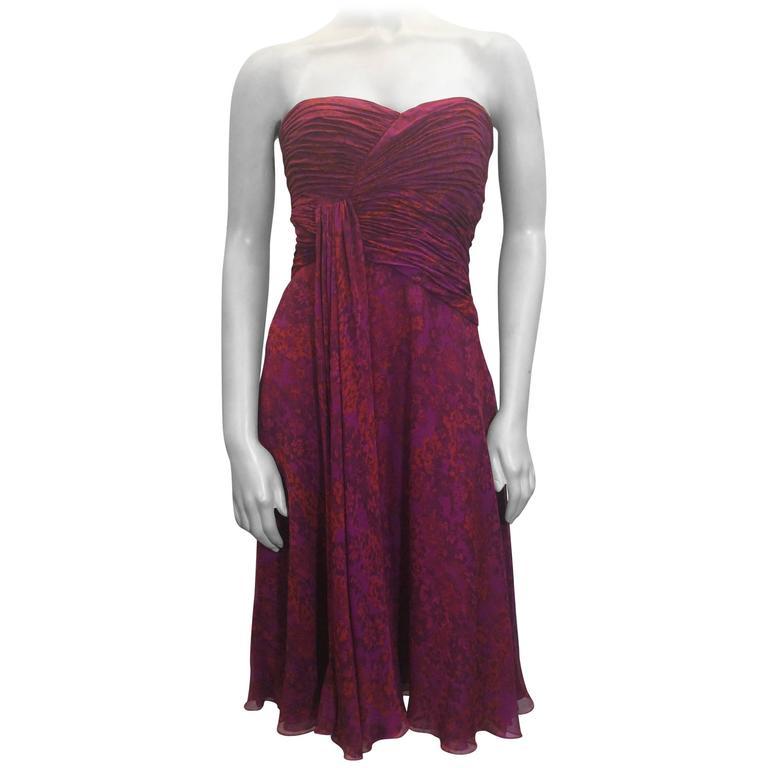 Giambattista Valli Pink Print Rouched Midi Dress For Sale