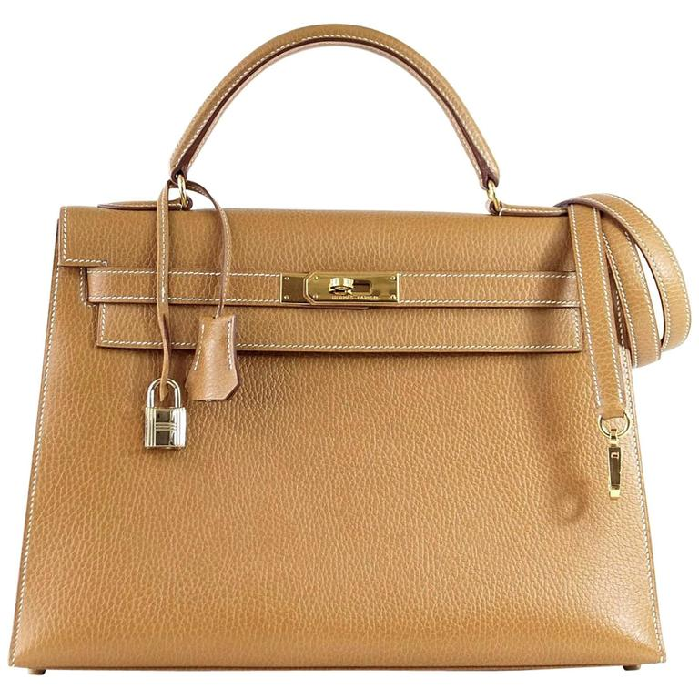 f1ce6f2a0a13 Hermes Kelly 32 Sellier Bag Vintage Sable Ardennes Leather Gold Hardware  For Sale