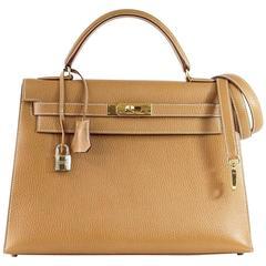 HERMES KELLY 32 Sellier Bag Vintage Sable Ardennes Leather Gold Hardware