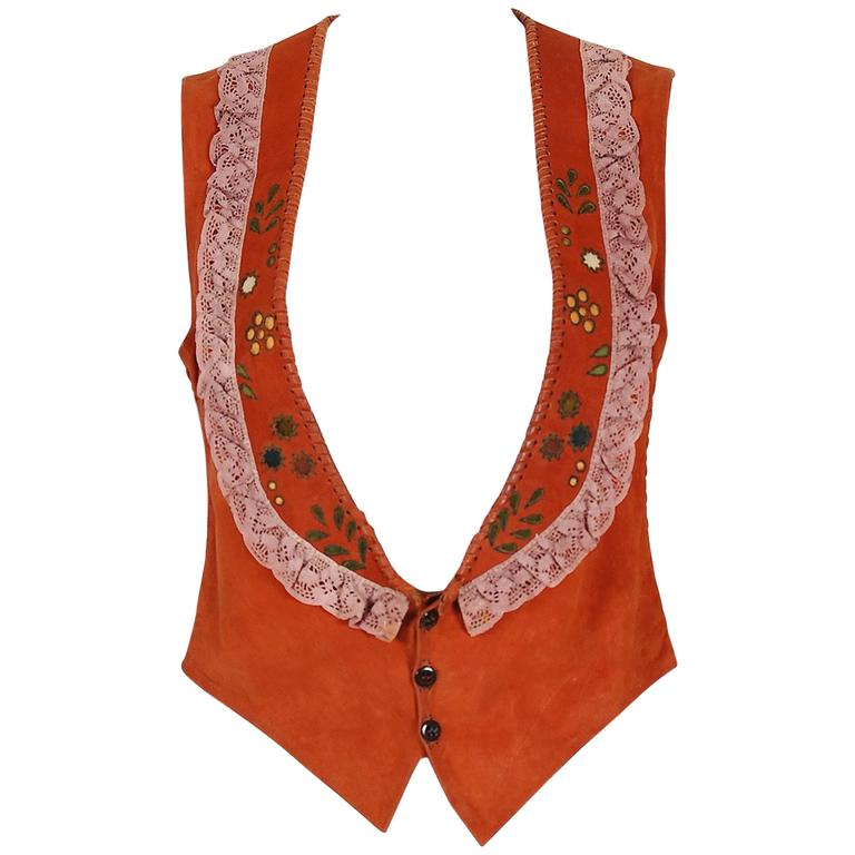 1970's Char Handpainted Whipstitched Leather Suede & Lace Bohemian Hippie Vest